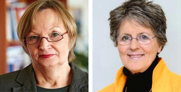 """Prostitution weltweit legalisieren? Susanne Kahl-Passoth (links) sagt: """"Ja!"""" Lea Ackermann (rechts) sagt: """"Nein!"""" (Fotos: epd/Schoelzel; Solwodi Deutschland e.V.)"""