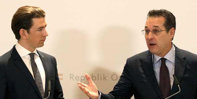 Hoffnungszeichen aus Wien: Kurz (links) kündigte wegen des Video-Skandals um Strache (rechts) die Regierungskoalition auf. Die Lehre aus dem Pakt mit Rechtsnationalen: Demokratische Parteien dürfen mit ihnen niemals paktieren. Nirgendwo. (Foto: pa/ap/Zak)