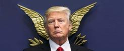Der geflügelte Donald: Schnappschuss im Pentagon, vor dem Siegel der USA. (Foto: Reuters/Carlos Barria)
