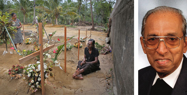 Bild der Ohnmacht: Eine Frau trauert an den Massengräbern am Friedhof von Negombo. Father Emmanuel Semampillai (rechts) beginnt mit seiner Friedensarbeit in Sri Lanka wieder von vorn. (Fotos: pa/AP Photo/Manish Swarup; privat)