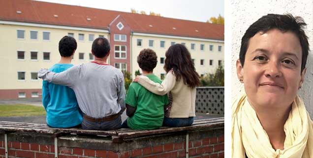 """Geschafft! Eine syrische Familie ist gemeinsam in Brandenburg angekommen (links). Doch das neue Gesetz zum 1. August 2018 regelt für durch Flucht zerrissene Familien nur den Eltern-, nicht den Geschwisternachzug. """"Das ist absurd"""", sagt Juristin Ulrike Schwarz (rechts). (Fotos: privat; pa/Pleul)"""