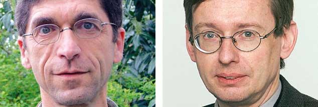 """Palästina als Staat anerkennen? Rolf Verleger (links) sagt: """"Ja!"""" Thomas Hoppe (rechts) sagt: """"Nein!"""" (Fotos: Witt-Stahl; privat)"""