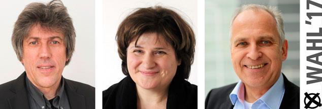 Günter Burkhardt, Johanna Haberer, Werner Tiki Küstenmacher: Wem geben sie ihre Stimme bei der Bundestagswahl 2017? (Fotos: Philipp Eichler; pa/dpa/ Klaus-Dietmar Gabbert; pa/dpa/Uwe Zucchi)