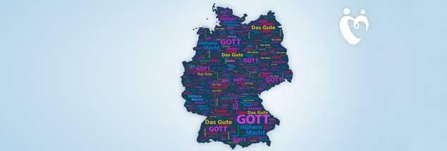 """Woran glaubt Deutschland? Die interaktive Karte der ARD im Internet zeigt, viele glauben an """"Das Gute"""" oder eine """"Höhere Macht"""" und nicht mehr an Gott (Foto: ARD)"""