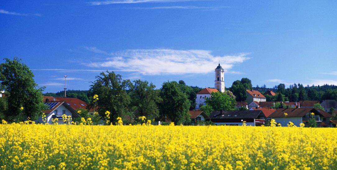 Kirchenland: Viele Pfarreien, hier die Kirche in Bad Birnbach, verpachten Wiesen und Felder an Bauern (Foto:pa/Kreder)