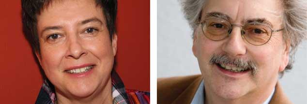 """Müssen wir Angst haben vor der AfD? """"Ja!"""", sagt die Historikerin und Journalistin Britta Baas (links). """"Nein!"""", sagt der Ökonom und Journalist Wolfgang Kessler. (Fotos: Publik-Forum)"""