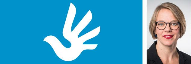 Sind die Menschenrechte universell? »Ja!«, sagt Lisa Heemann (Foto). »Ohne universelle Rechte wäre es zum Beispiel um die Frauenrechte auf der Welt schlecht bestellt.« (Menschenrechtslogo der Vereinten Nationen, Grafik: Predrag Stakic; Foto: dgvn/www.ffpeters.de/Frank Peters)