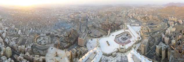Panorama der Stadt Mekka heute, fotografiert von den Abraj-Al-Bait-Towers aus: Wer den Koran verstehen will, muss wissen, dass Muslime in Mekka einst in der Minderheit waren. (Foto: Wikipedia)