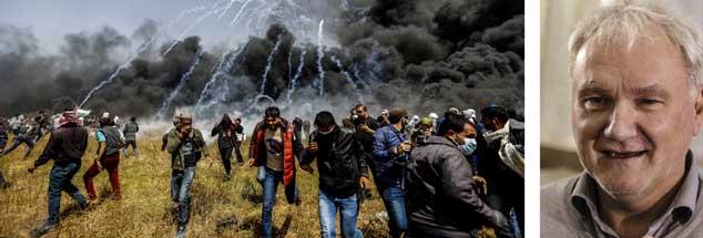 """Palästinensische Demonstranten gehen bei Protesten im Gaza-Streifen in Deckung: """"Mit großer Sorge schauen viele Menschen dem 15. Mai entgegen, dem Tag der Nakba. Noch dazu hat Donald Trump angekündigt, just am Tag zuvor die US-Botschaft in Jerusalem eröffnen zu wollen"""", sagt Matthias Schmale (rechts).  (Fotos: pa/ Talatene; pa/Nassar)"""