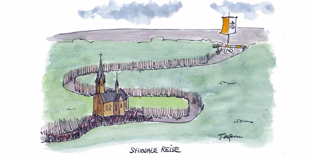 Die Karawane zieht weiter, aber wohin bewegt sich die katholische Kirche in Deutschland? (Illustration: Plassmann)