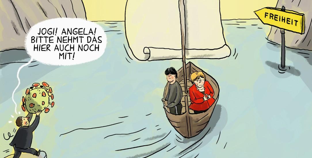 Gemeinsam auf zu neuen Ufern? Angela Merkel und Jogi Löw geben in diesem Jahr ihre Ämter auf. (Zeichnung: pa/dieKLEINERT/Maurer
