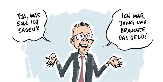 Brachte Bewegung in die Gesetzgebung zu einem Lobbyregister: Die Lobby-Affäre um den CDU-Bundestagsabgeordneten Philipp Amthor (Illustration: pa/dieKLEINERT.de / Schwarwel)