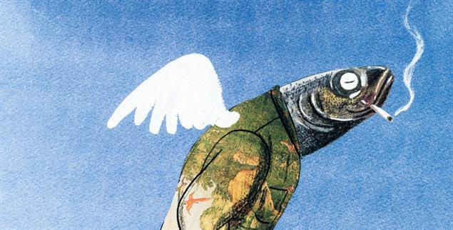 Flügel-Fisch mit Fluppe: Dies ist nur einer der ungewöhnlichen Engel, die Leonard Erlbruch für seine Mutter malte (Illustration: © Leonard Erlbruch)