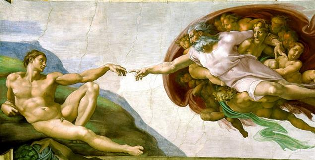 Michelangelo: Die Erschaffung Adams (Quelle: commons.wikimedia.org)