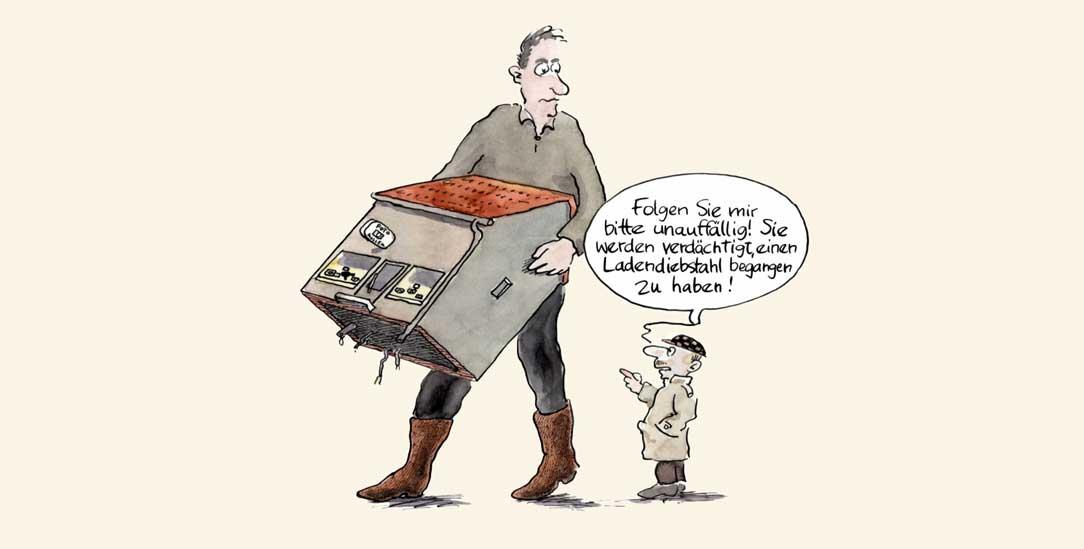 Ladendieb und Steuersünder – ganz unschuldig? (Zeichnung: Johann Mayr)