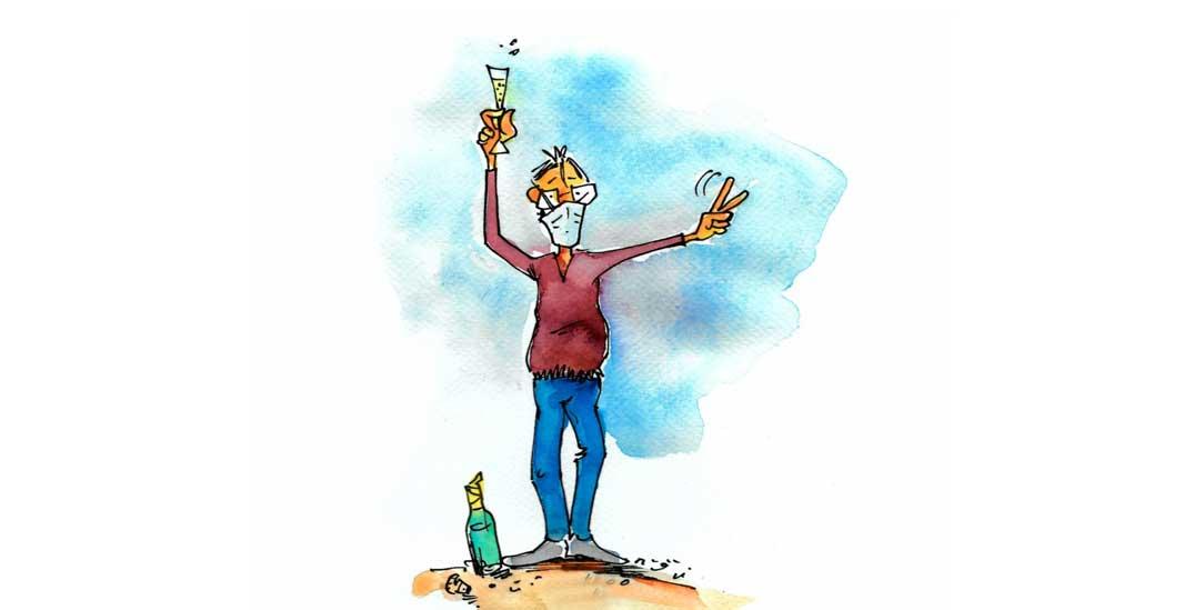 Ein Prosit auf alle Feste, die nach Corona nachgeholt werden! (Zeichnung: PA/dieKLEINERT.de/Günter Wolters)