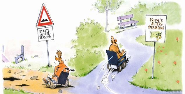Sichere Renten? Der Aufschrei gegen die wachsende Altersarmut bleibt aus. (Zeichnung: Mester)