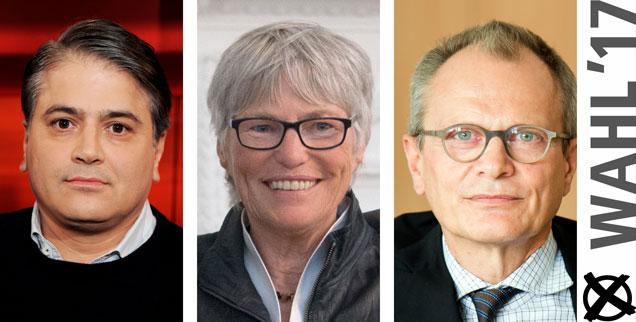 Mehmet Daimagüler (links). Christel Neudeck, Ulrich Lilie: Wem geben sie ihre Stimme bei der Bundestagswahl 2017? (Fotos: pa/dpa/Horst Galuschka; pa/dpa/Marijan Murat; pa/dpa/Arno Burgi)