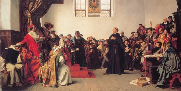 Martin Luther am 18. April 1521 vor dem Reichstag in Worms (Gemälde von Anton von Werner; Foto: PA/AKG)