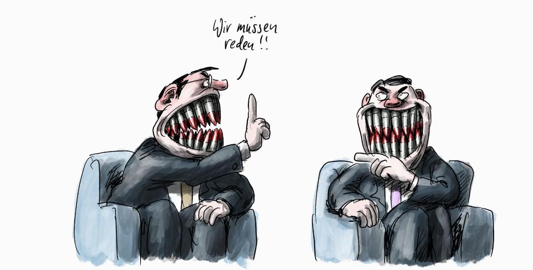 Wer bis an die Zähne bewaffnet ist, kann kaum glaubhaft vom Frieden reden (Zeichnung: Stuttmann)
