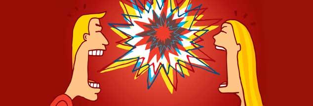 Schnell »auf 180«: Sind wir für das enge anonyme Zusammenleben nicht geschaffen? Oder suchen wir einfach in einem Dauerzustand der Ungewissheit in heller Aufregung nach Fixpunkten? (Illustration: Diego Schtutman / Alamy Stock Photo)