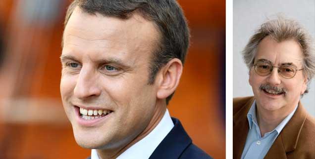 Emmanuel Macron (links) ist zu beneiden, findet Publik-Forum-Chefredakteur Wolfgang Kessler (rechts). Nur nicht um die wirtschaftspolitischen Hürden, die vor ihm liegen. (Foto: pa/abaca)