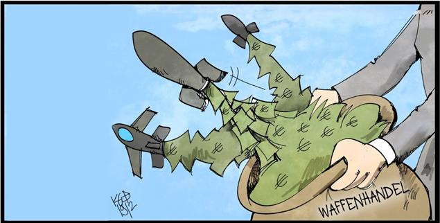 Waffen für die Welt: Deutschland liefert Rüstungsgüter – über Umwege auch in Kriegsgebiete (Illustration: pa/Kostas Koufogiorgos)