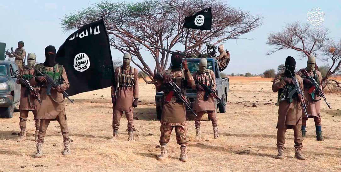 Mitglieder des sogenannten Islamischen Staates posieren für ein Propaganda-Foto nach einem Anschlag im Januar in Niger (Foto: Screenshot)