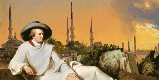Dieses Bild hat Tischbein so nicht gemalt: In den Orient reiste Goethe nur in seiner Fantasie; solche Minarette gab es während seiner Italienreise 1786/87 dort nicht (Bildmontage: Publik-Forum; Bildmaterial: pa/akg; pa/heritage-images)
