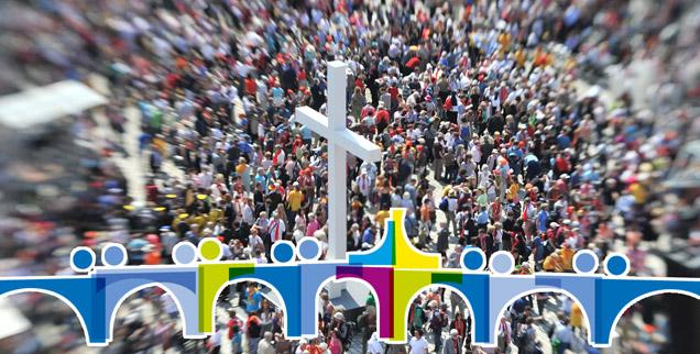 """Tausende von Katholikinnen und Katholiken treffen auf Hunderte von """"Anwälten des Publikums"""": Der Katholikentag ist nicht gut darin, einzelne Menschen einfach mal zu Wort kommen zu lassen. (Foto: pa/dpa/Uli Deck; Grafik: www.katholikentag.de)"""