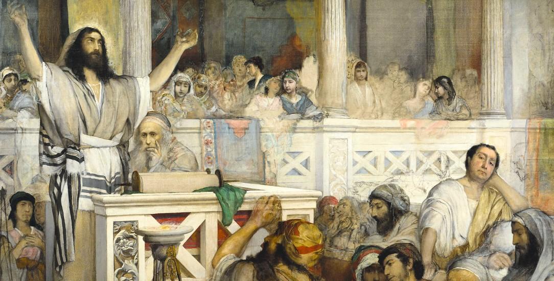 Jesus predigt in der Synagoge von Kapharnau. Gemälde von Maurycy Gottlieb aus dem Jahr 1878 (Heritage Image Partnership Ltd / Alamy Stock Photo)