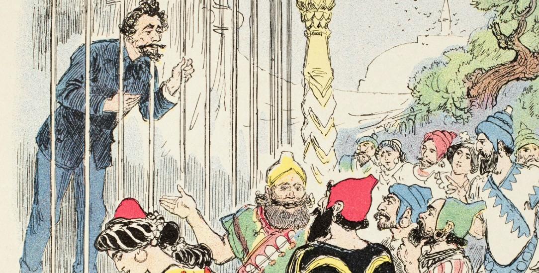 Der weiße Mann als Ausstellungsobjekt: In seinem Bild aus dem Jahre 1912 übte der französische Schriftsteller und Karikaturist Albert Robida Kritik am Kolonialismus (pa/akg)