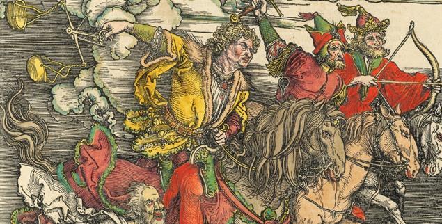 Untergang in Farbe: Kolorierte Buchausgabe von Dürers »Apocalipsis cum figuris« von 1498, die in der Bibliothek von Harvard digital zugänglich ist (Abbildung: Wikipedia)