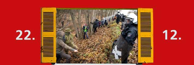 Der Widerstand gegen die Rodung im Hambacher Forst, vor Gericht und im Wald, hat vorläufig Erfolg: RWE will bis zum Jahresende auf die weitere Abholzung verzichten. Über Weihnachten herrscht Frieden. (Foto: pa/Becker)