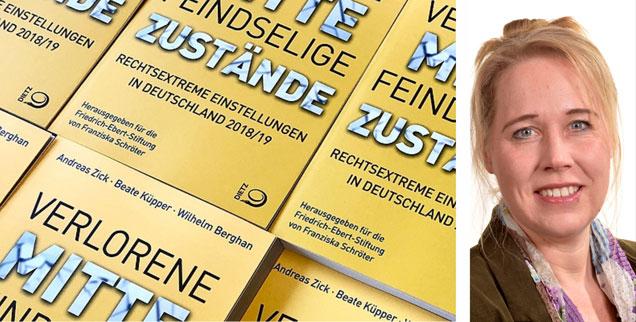 Die neue Mitte-Studie, Beate Küpper (rechts): Viele wollen die Demokratie - aber nicht für alle. (Fotos: FES; Beate Küpper/privat)