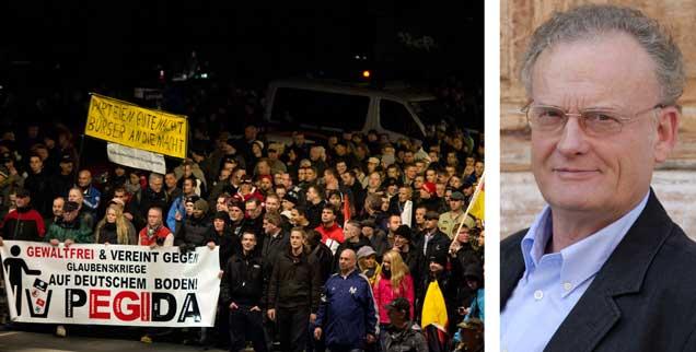 Irrationale Ängste liegen dem Pegida-Protest zugrunde, meint der Bürgerrechtlicher Friedrich Schorlemmer. Er erwidert darauf: »Ihr seid nicht das Volk! Ihr seid eine gespenstische Minderheit! Und wenn ihr noch so laut brüllt.« Das Foto zeigt die letzte Kundgebung in Dresden vor Jahresende 2014. Doch auch 2015 gehen die Demonstationen weiter, mit immer mehr Beteiligten. (Foto: Arno Burgi/dpa)