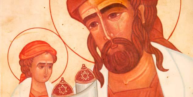 Gemälde aus Emmaus in Israel: Jesus sitzt auf dem Arm seines Vaters Josef und liest in der Thora (Foto: pa/Godong/Robert »Icon of Jesus as a Jew, Emmaus-Nicopolis, Israel«)