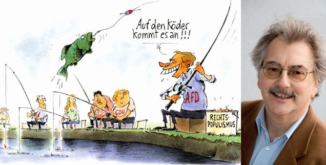 Warum räumte die AfD bei drei Landtagswahlen derartig ab? »Sie gab dem Frust der Abgehängten ein Ventil«, sagt Wolfgang Kessler (rechts). (Zeichnung: Mester; Foto: Publik-Forum)
