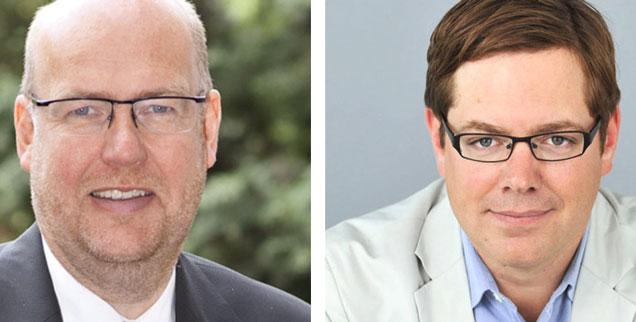 "Soll man Katar die WM wegnehmen? Theologe Renke Brahms (links) sagt: ""Ja!"" SZ-Redakteur Paul-Anton Krüger (rechts) sagt: ""Nein!"" (Fotos: www.Kirche-Bremen.de; Schellnegger)"