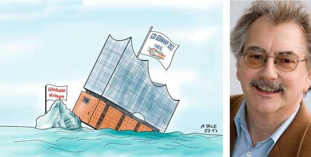 Publik-Forum-Chefredakteur Wolfgang Kessler über den G-20-Gipfel in Hamburg (Zeichnung: PA/dieKLEINERT.de/Agostino Natale)