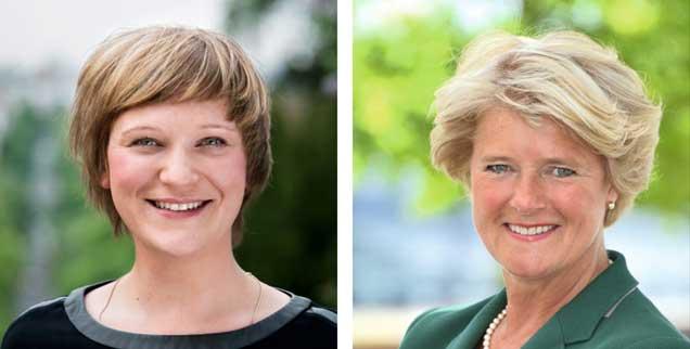 Sollte man Wohnungskonzerne enteignen? »Ja!«, sagt Katrin Schmidberger (links). »Nein!«, meint Monika Grütters (rechts).