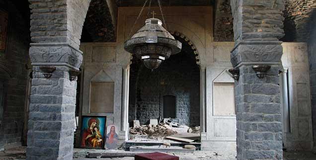 Zerstört: Die Kirche Um al-Zinar im syrischen Homs. Die Christen im Nahen Osten beklagen, dass ihre große Not im Westen nur wenig Beachtung findet (Foto: pa/ap)