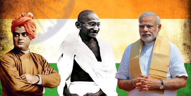 Was bleibt vom spirituellen Erbe Indiens? Vivekananda (links), Gandhi und Ministerpräsident Modi. (Fotos: pa; pa/akg; pa/chakraborty; fotolia/alexandr)