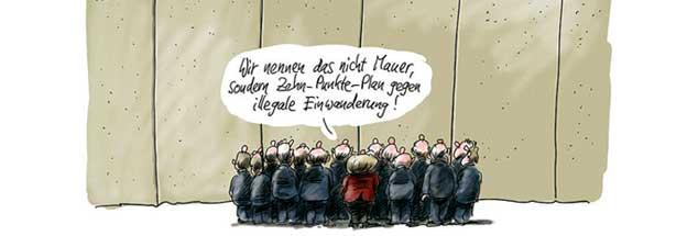 Mauern der Ablehnung, gebaut gegen die Angst vor Veränderung: Das kann nicht Europas Zukunft sein. (Zeichnung: Stuttmann)