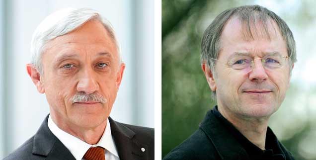 """Hartz IV - ein Erfolg? Heinrich Alt (links) sagt: """"Ja!"""" Christoph Butterwegge (rechts) sagt: """"Nein!"""" (Fotos: Bundesagentur für Arbeit; www. christophbutterwegge.de)"""