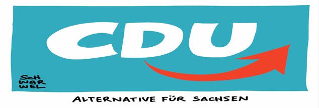 Was bahnt sich dort an? Der Karikaturist Schwarwel verbindet die Lgos von CDU und AfD (Karrikatur: pa/dieKLEINERT/Schwarwel)