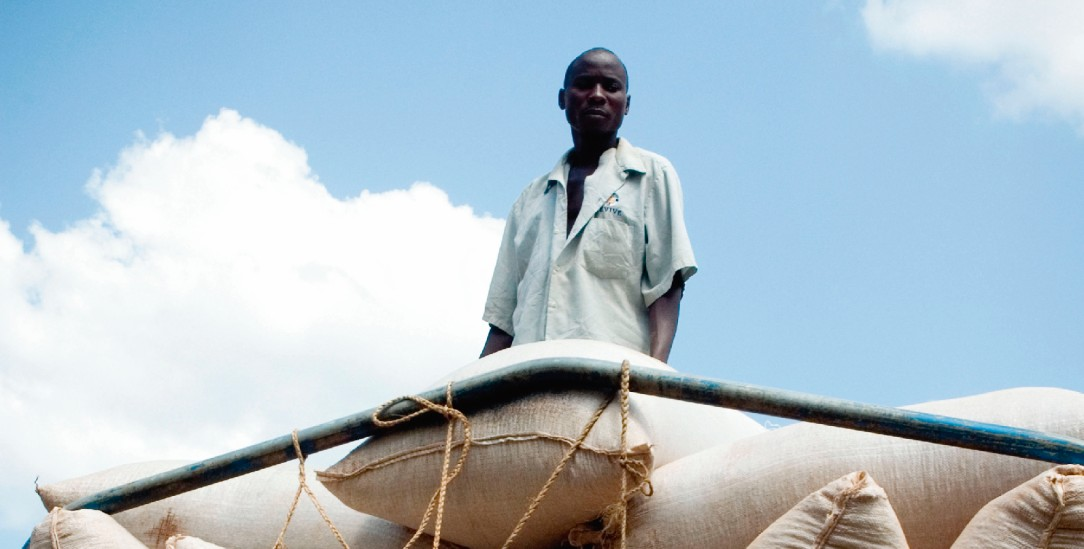 Handel statt Hilfe? Ein ugandischer Kaffeebauer liefert Säcke mit Kaffeebohnen für den Fairen Handel an seine Kooperative(Foto: Simon Rawles / Alamy Stock Photo)
