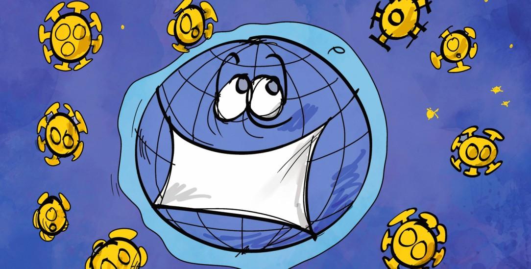 Corona macht sich auf der ganzen Welt breit. (Illustration: pa/dieKLEINERT.de/Kostas Koufogiorgos)