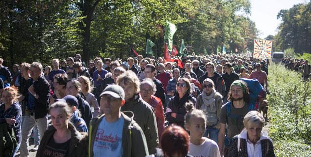 Tausende kamen am vergangenen Wochenende zum jüngsten Waldspaziergang. Der Protest gegen die geplante Rodung des Hambacher Waldes wird immer größer (Foto: pa/Zumapress/ Jannis Grosse)