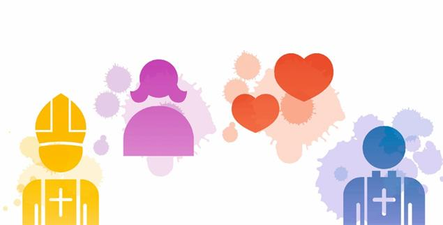 Vier Symbole stehen für die vier Foren des Synodalen Weges: Es geht um die Macht der Geistlichen, die Rolle der Frauen, um den Blick auf Lust und Liebe und um den Priester der Zukunft (Grafiken: Istock by Getty/Aaltazar)